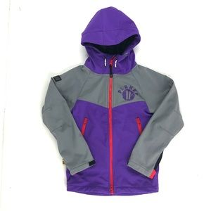Planks grey and purple softshell jacket for kids